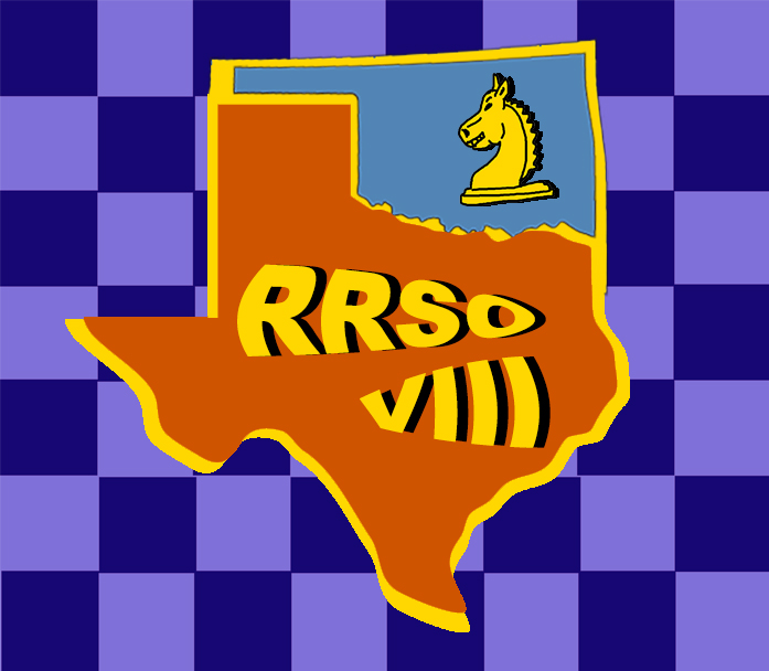 Logo for the eighth annual team match between the most fanatical chess players in Oklahoma and Texas